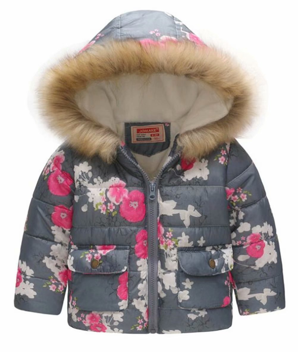 EGELEXY Kids Snowsuit Toddler Girl Winter Coat Fleece Lining Fur Hooded Thickened Jacket Size 5-6 Years/Tag120 (Gray)