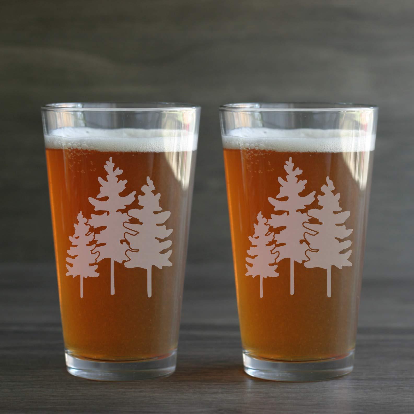 FAMILY TREES Pint Beer Glasses set of 2