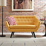 Modern Contemporary Urban Design Living Lounge Room Loveseat Sofa, Yellow, Fabric