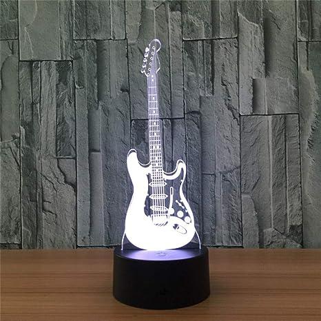 Txyang Guitarra Eléctrica 3D Ilusión Óptica Lámpara De Mesa Mood Light Touch Control Remoto 7 Colores