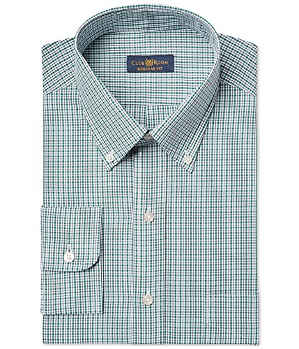 Club Room Wrinkle Resistant Grid Green Dress shirt 17.5 36 / 37