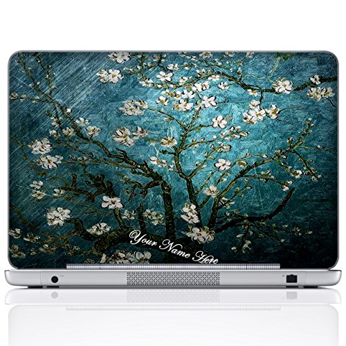 Meffort Inc Personalized Laptop Notebook Notebook Skin Sticker Cover Art Decal, Customize Your Name (15.6 Inch, Van Gogh Almond Blossoming)