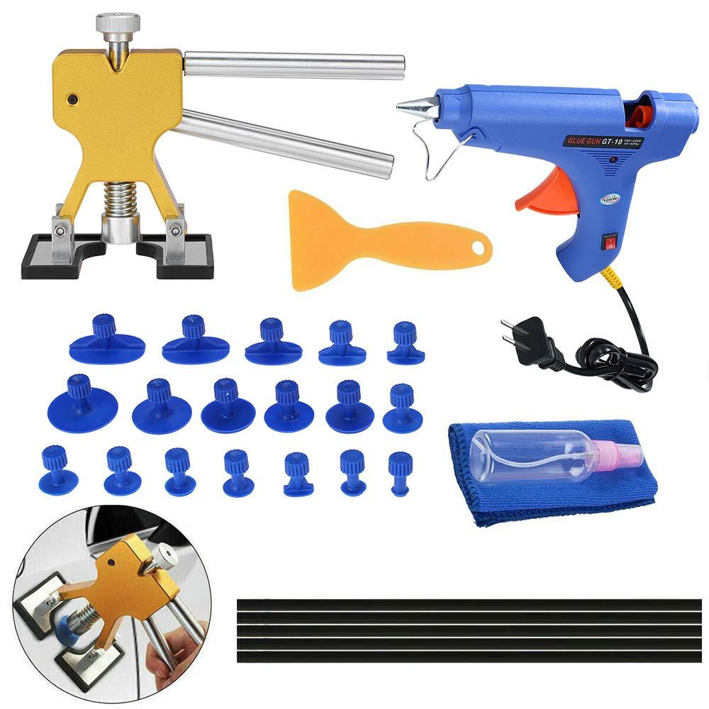 KKmoon Kit di Attrezzi per la Riparazione di Auto Senza Vernice Attrezzo per Estrattore Dentato Linguette per Colla Strumenti per Pistola Stick 33 Pezzi