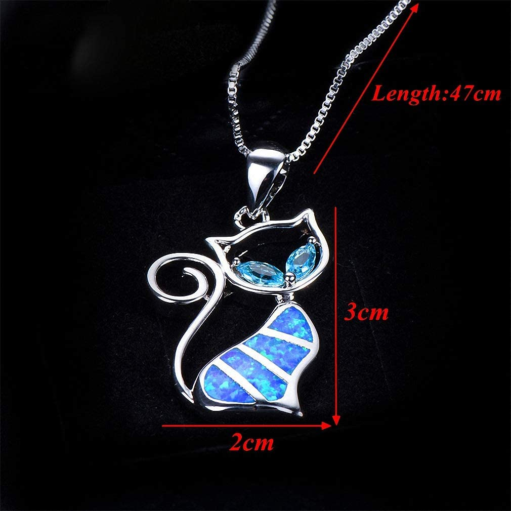 Xileg 1 pc Cute Cat Pendant Blue Opal Necklace Womens Animal Jewelry Gift for Women