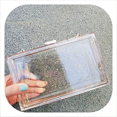 2019 Spring Summer Gold Color Acrylic Single Chain Hasp Closure Transparent Glitter Women Messenger Bag Flap NA633,silver color