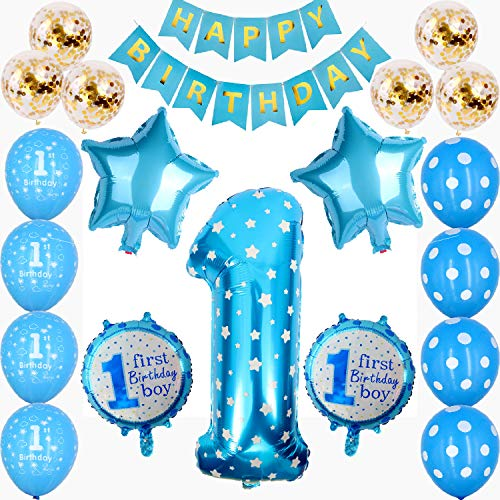 1st Birthday Boys Decorations Blue First Birthday Party Decorations for Boys - Number 1 Foil Balloon, Happy Birthday Banner, Star and Candy Balloons, Confetti Balloons Birthday Party Decorations