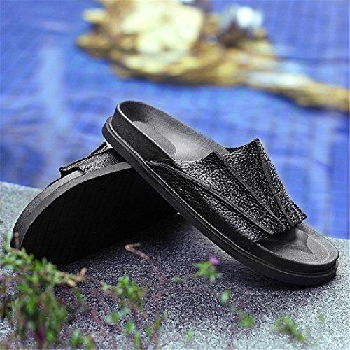 Pantofole Casual Da Uomo In Pelle Da Spiaggia Estiva In Pelle Bianca Xg-518