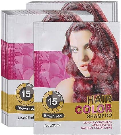 Champú temporal para el color del cabello, champú profesional desechable, café rápido, castaño rojo, cabello dorado, champú para el cabello para ...