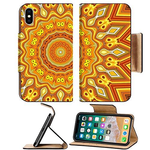 MSD Premium Apple iPhone X Flip Pu Leather Wallet Case IMAGE ID: 30237230 Creative background A wonderful harmony of colors of golden orange yellow wavy diagonal stripes kaleidoscope (Stripe Kaleidoscope)