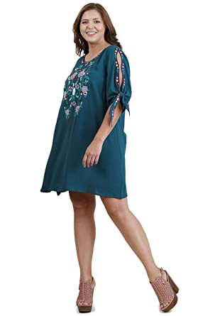 8aaee349241 Umgee Women's Bohemian Floral Embroidered Dress With Open Tied Sleeves Plus  Size (1X, Teal