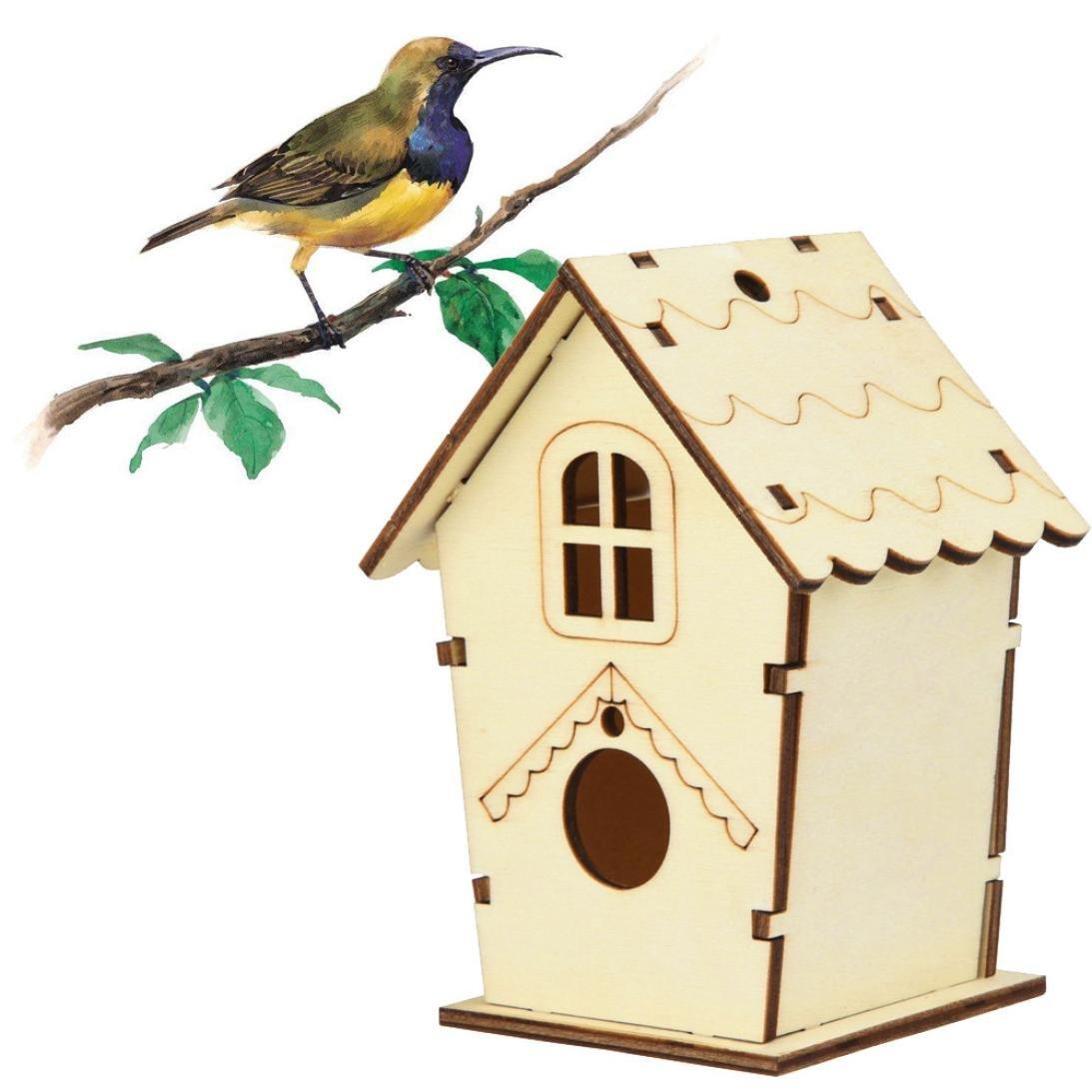 Cloom Kreative DIY Holz Outdoor Vogelhaus Vogel-Nisthaus, Nistkasten, Nisthöhle, Vogelhaus, Vogelhäuschen Für Kleinsingvögel, Ganzjahresnutzung, Landhaus DIY Vogelhäuser Nisthaus Vogelkiste Nisthöhle