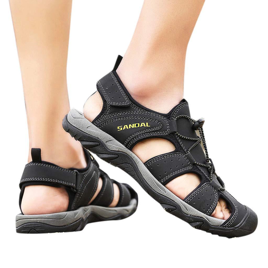 Wkgre Men's Casual Sandals Hollow Beach Shoes Classic Comfort Wading Shoe Outdoor Resistant Wearable Sports Shoes (US:7.5, Black)