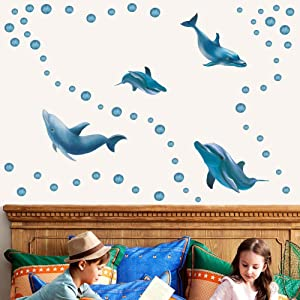 TOARTi Watercolor Dolphin Sticker, Ocean Animal Wall Decals, Blue Bubbles Adorable Dolphin Wall Stickers for Bathroom Kids Bedroom Nursery Decor, Marine Life Theme Wall Art Decoration
