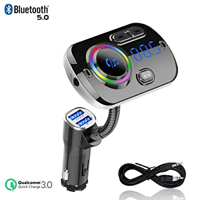Bluetooth FM Transmitter, IEhotti Car Bluetooth Radio Adapter Full FM Car Kit w/2 USB Ports, QC3.0 Fast Charge, Support Bluetooth/U Disk/AUX/TF-Card, Car MP3 Player Compatible with most Car Models: MP3 Players & Accessories