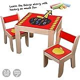 Labebe Kindertisch/Tisch Kinder/Kinder Tisch mit 2 Stühlen mit Tafel für 1-5 Jahre alt, Kindertisch Set/Kindertisch Garten/Tisch Ausziehbar für Kinder/Kindermöbel/Kindersitzgruppe Holz für Malerei / Lesen / Gruppenspiel - Rot Apfel