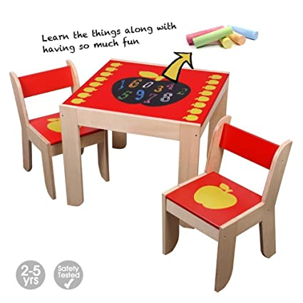 Labebe Wooden Activity Table Chair, Red Apple Toddler Table With Chalkboard  For 1 5