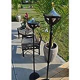 Starlite Garden and Patio Torche AKEX-FS-2300BLK Torch (Set of 2), 61'', Black/Stainless Steel