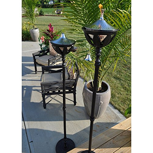 """Starlite Garden and Patio Torche AKEX-FS-2300-BLK Hammered Nickel Set of 2 Bali Patio Torch, 61"""", Black/Stainless Steel"""