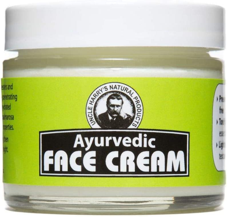 Uncle Harry's Natural Products Ayurvedic Face Cream with Jojoba Esters and Pure Essential Oils of Turmeric, Sandalwood, Palmarosa, and Cypress – for Day and Night Use, Vegan, 2 Fluid Ounce Glass Jar