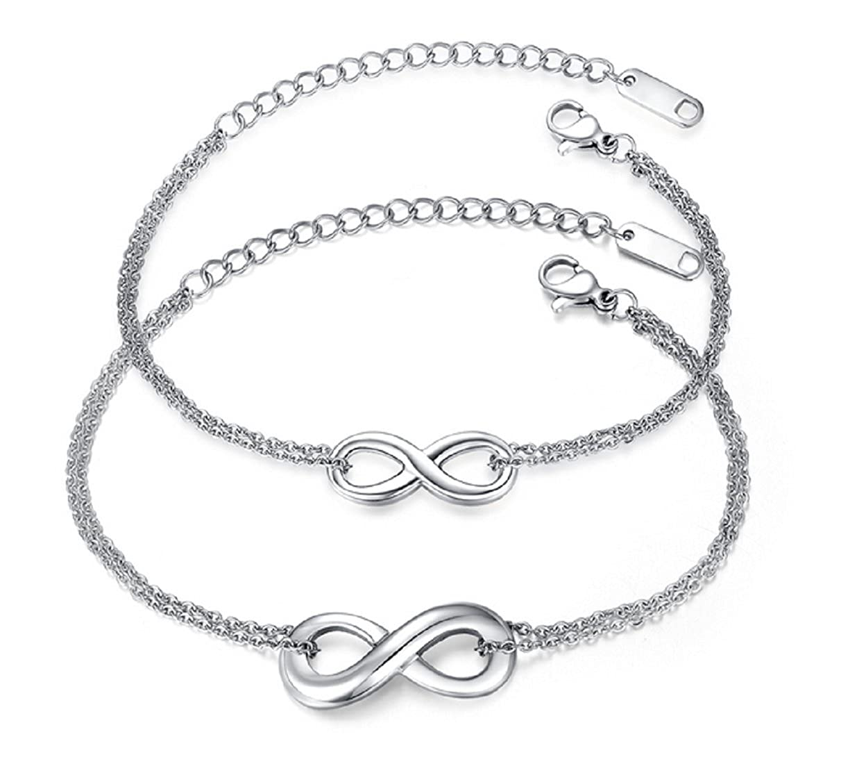 Blowin Lot of 2 Couples Bracelets - His and Hers Silver Stainless Steel Infinity Love Charm Bracelets for Men Women BW39P800389
