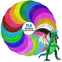 Tecboss 3D Pen/3D Printer Filament, 1.75mm PLA Filament Pack of 20 Different Colors,High-Precision Diameter Filament, Each Color 16 Feet, Total 330 Feet Lengths, Bonus 4 Glow in The Dark from TECBOSS