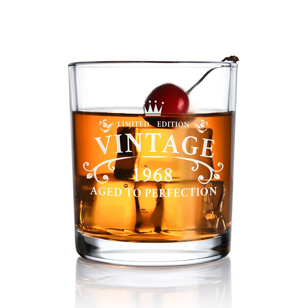 1968 50th Birthday Gifts for Men and Women Whiskey Glass for Anniversary Gifts - Idea for Him Her Husband Wife Dad Mom Party Favors