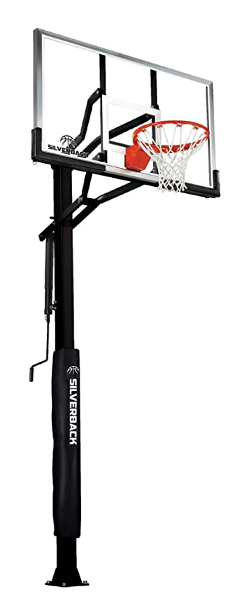 """Silverback 60"""" In-Ground Basketball Hoop with Adjustable-Height Tempered Glass Backboard and Pro-Style Breakaway Rim"""