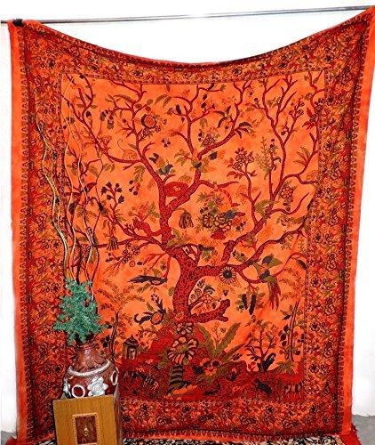 World Wide Kart Indian Orange Tree Of Life Wall Hanging Hippie Tie Dye Tapestry Throw Decor Double Bedspread Boho Wall Art Dorm Tapestries Bedding Cotton Bedsheet Yoga Mat Beach Towel