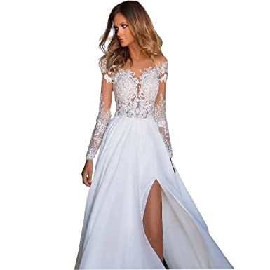 46d887235a7d Chady 2018 Sexy Sheer Long Sleeves Beach Lace Wedding Dresses for Bride  Crew-Neck Chiffon