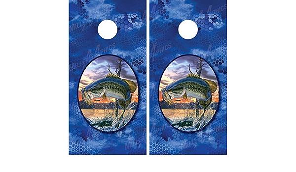 Laminated 2 Prints Jumping Bass Cornhole Board Wrap Set