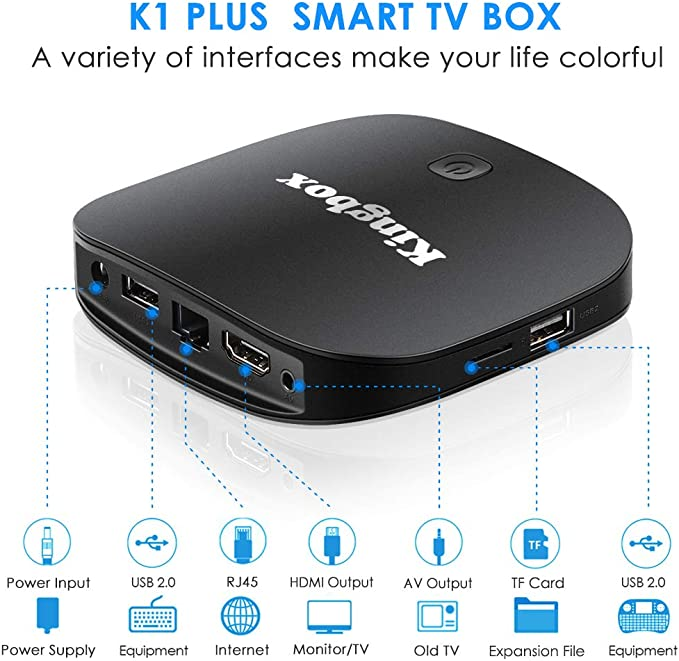 Kingbox Android TV Box, K1 Plus Android 7.1 Box Support 4K (60Hz) Full HDMI/H.265/BT 4.0/2.4GHz WiFi Android Smart TV Box: Amazon.es: Electrónica