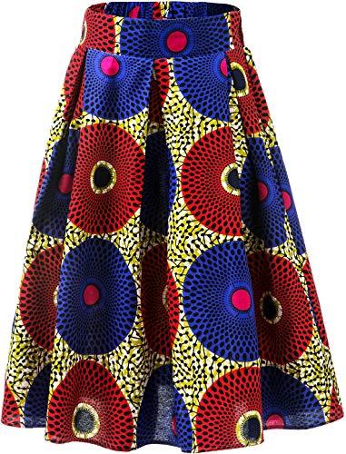 (Aikaplus Womens African Print Skirt Flared Skirt Multisize A Line Skirt (XX-Large, Color B))