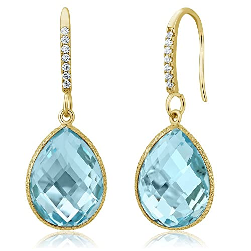 Gem Stone King 18.00 Ct Blue Topaz 16x12mm Pear Shape Gold Plated 925 Silver Dangle Earrings