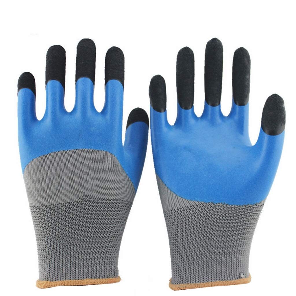 LZRZBH 12 Pairs PU Coated Blue Nylon Work Gloves. Gardening, Builders, Mechanic,Knit Wrist Cuff Industrial Gloves