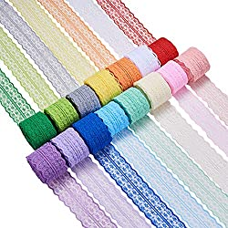 BENECREAT 15 Rolls 165 Yards Mixed Color Floral Pattern Fabric Lace Ribbon by the Roll for Wedding Invitation, Cards, Decorating, Sewing, Hair Bow Making, Gift Package Wrapping, 1-3/4 Inch Wide