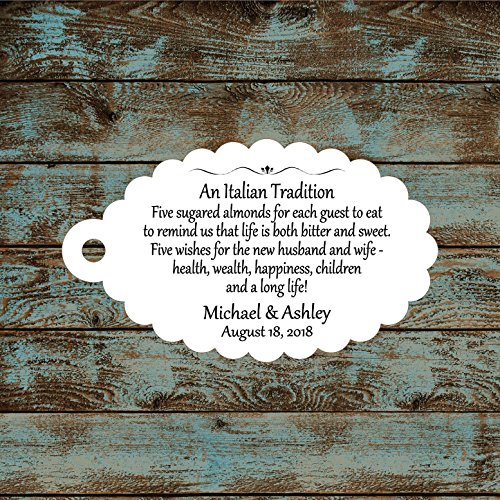 Personalized Jordan Almond Tags, Sugared Almond Tags, Italian Wedding Reception Favor Tags, Qty: 30 Tags #760 (Personalized Jordan Almonds)