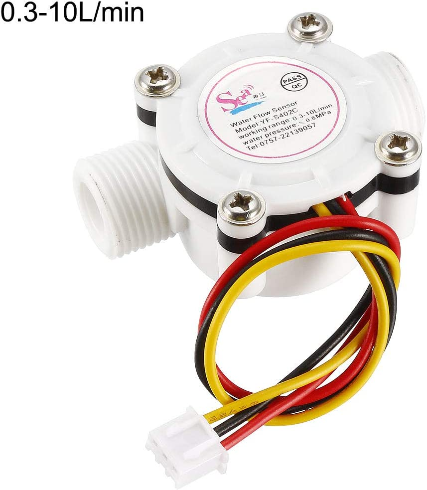 sourcing map Interruptor Sensor Flujo Agua L/íquida Efecto Hall G3//8 Contador Caudal/ímetro DC5V 0.3-10L//min Blanco YF-S402C
