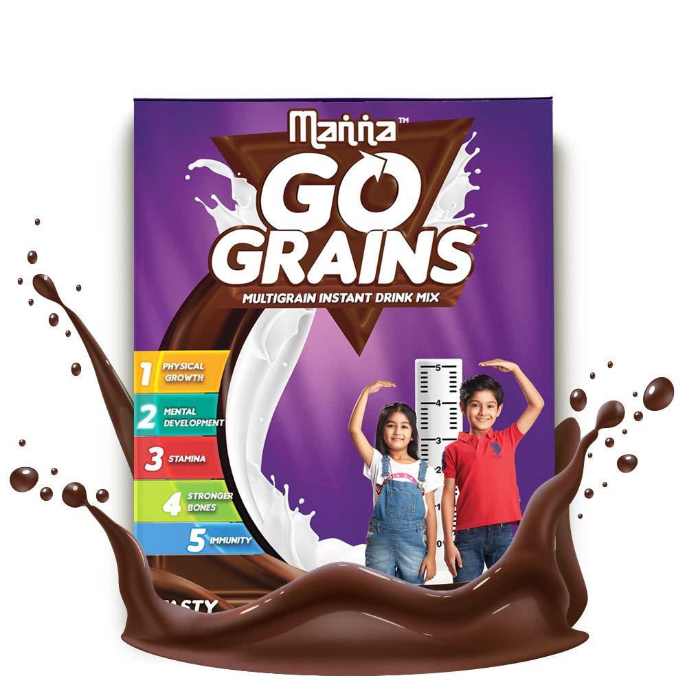 Manna Go Grains - Multigrain Instant Drink Mix for Kids - 200g Pack (Chocolate Flavour)