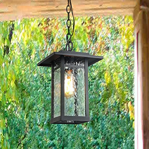(Log Barn 1 Light Hanging Lantern Lamp Pendant Light in Painted Black Metal with Obscured Glass Shade, 13