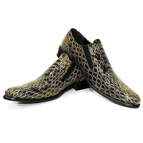 Modello Oromono - Cuero Italiano Hecho A Mano Hombre Piel Oro Mocasines y Slip-Ons Loafers - Cuero Cuero Suave - Ponerse: Amazon.es: Zapatos y complementos