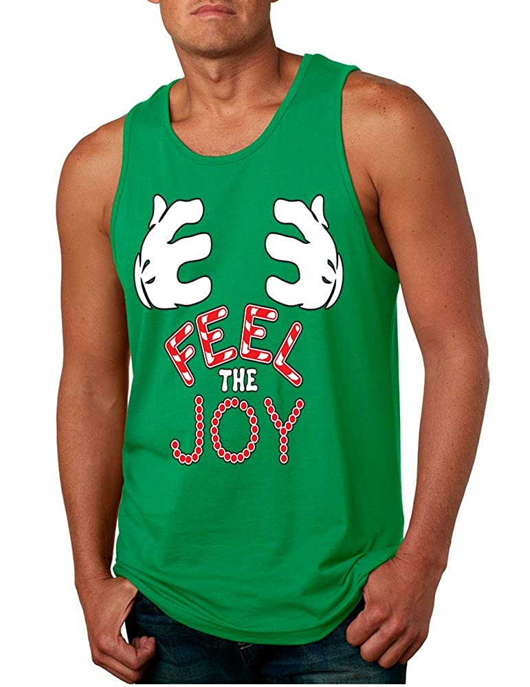 Allntrends Mens Tank Top Feel The Joy Cute Xmas Shirt Trendy Holiday Gift