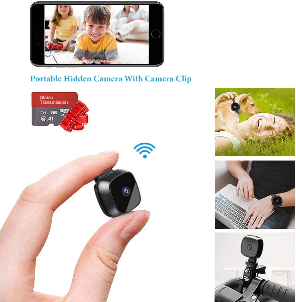 Mini Spy Hidden Camera, Suntee WiFi Hidden Camera Portable Home Security Cameras Covert Small Nanny Cam, Live Streaming with iPhone Android Phone, Most Complete Accessories for Indoor Outdoor