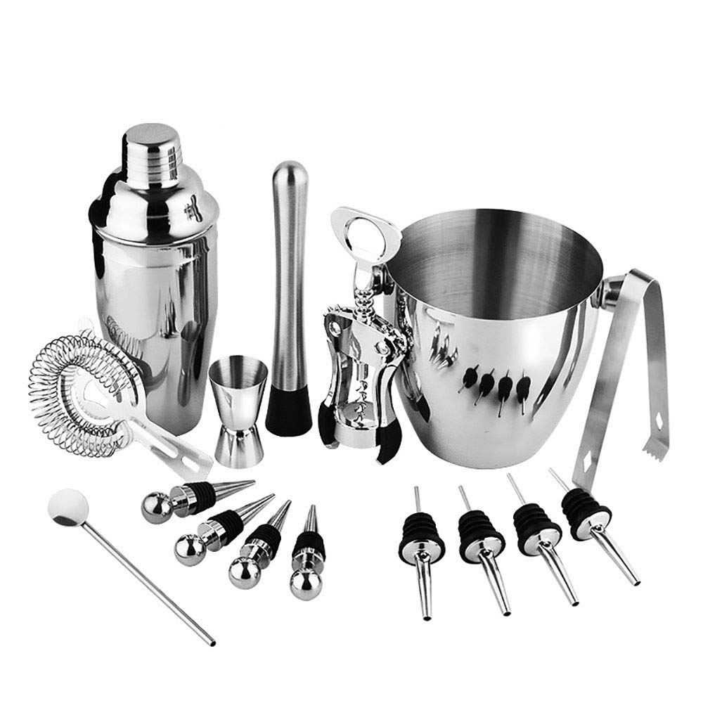 Linqly Cocktail Bartending Tool, 16-Piece Stainless Steel Cocktail Shaker with Zinc Alloy Wine Opener Stopper