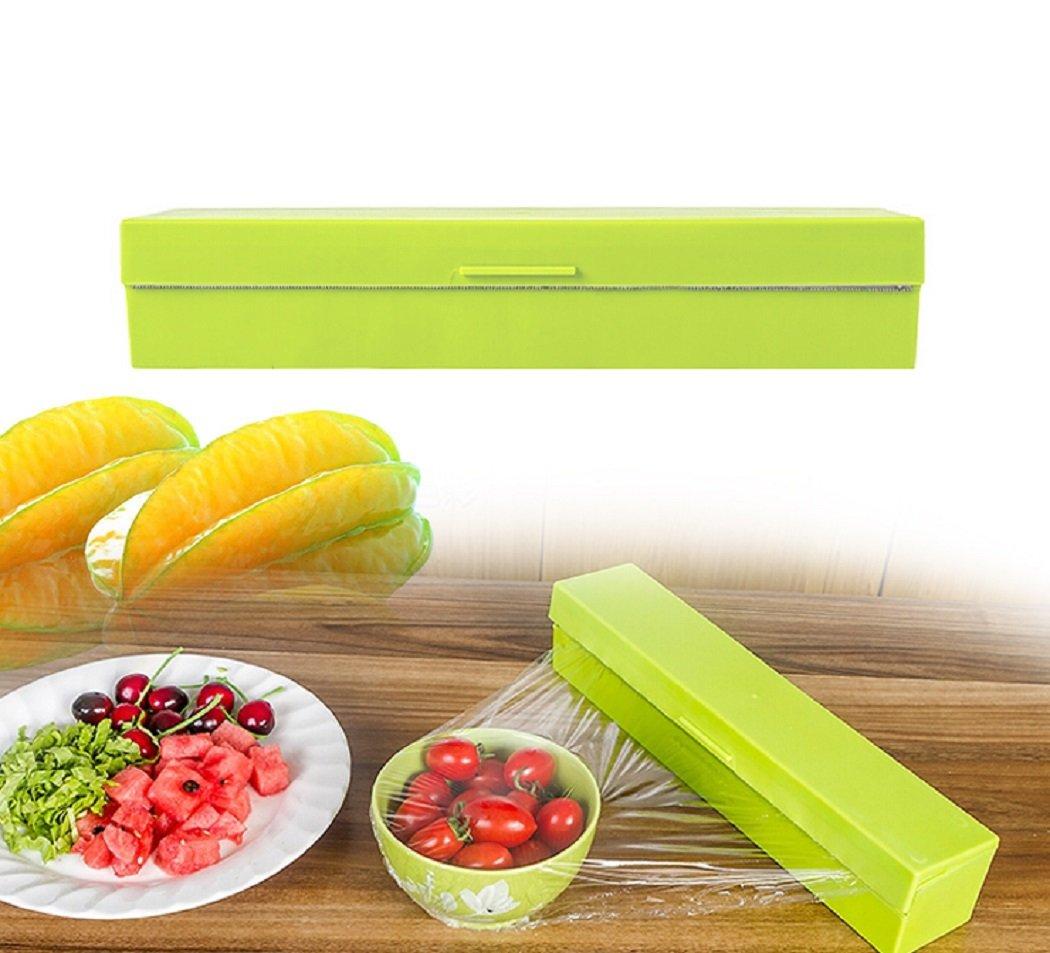 Food Wrap Dispenser, ixaer Wrap Cutter, Kitchen Tool Foil Cling Film Wrap Dispenser Plastic Sharp Cutter Storage Holder