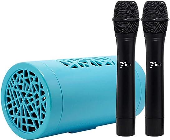 TINA 303 El altavoz Bluetooth más pequeño del mundo con 2 micrófonos inalámbricos, base para usar con aplicaciones de karaoke en teléfonos móviles y televisores.: Amazon.es: Instrumentos musicales