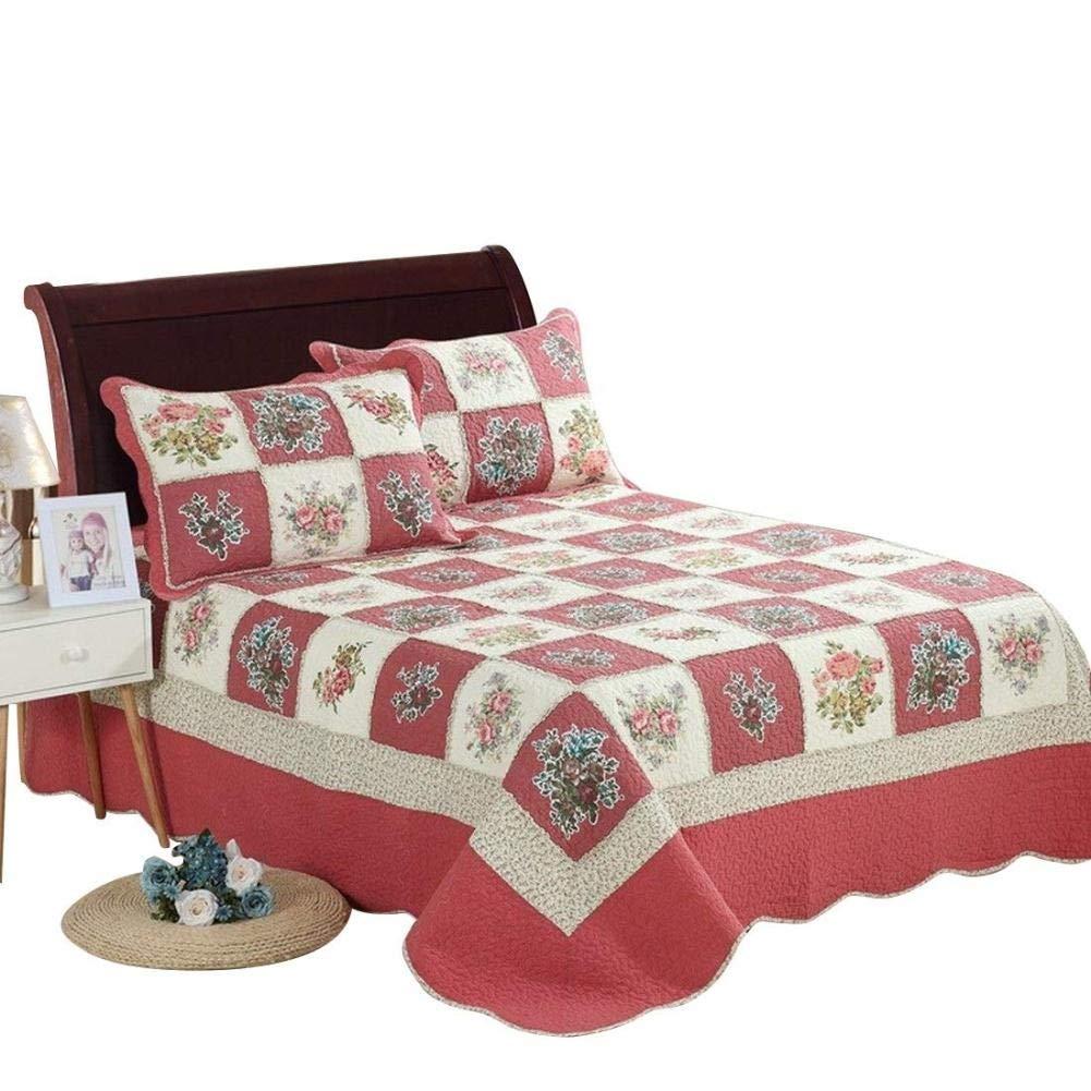 洗えるキルトセット、プリントキルティング掛け布団ベッドカバーベッドカバー夏のキルト毛布綿ポリエステル充填、枕カバー (色 : 3-piece, サイズ さいず : QUEEN) B07RGVN69L 3-piece Queen