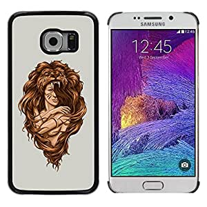 Be Good Phone Accessory // Dura Cáscara cubierta Protectora Caso Carcasa Funda de Protección para Samsung Galaxy S6 EDGE SM-G925 // Amazon Woman Warrior Lion Wild Nature Art