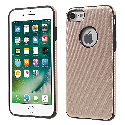 FSHANG Twill Texture Leather Coated TPU Soft Tasche Hüllen Schutzhülle Case für iPhone 7 4.7 with Built-in Iron Sheet - Gold
