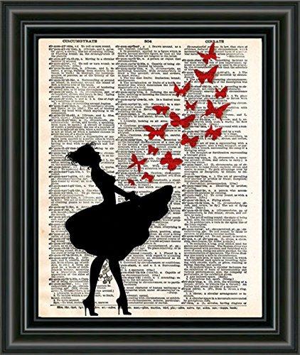 Butterfly art, ballerina art, girl releases butterflies, red butterfly art, banksy