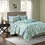 Madison Park Essentials Serenity Full Size Quilt Bedding Set - Aqua, Medallion – 8 Piece Bedding Quilt Coverlets – Ultra Soft Microfiber Bed Quilts Quilted Coverlet